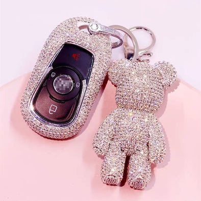Bling Car Key Holder with Rhinestones for Buick - All Silver