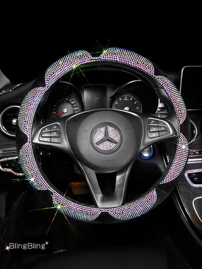 Flower Bling Bedazzled Steering Wheel Cover with Rhinestones