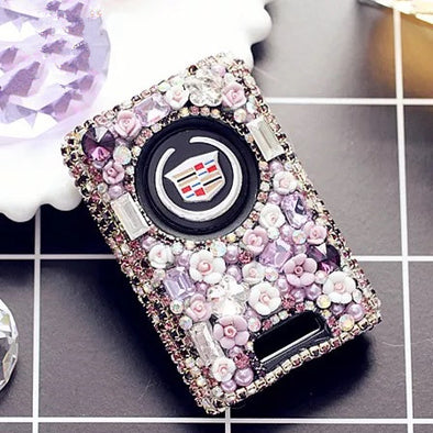 Bling Car Key Holder with Rhinestones for Cadillac CTS, XTS, XLR, SRX, STS, ATS, SLS - Purple