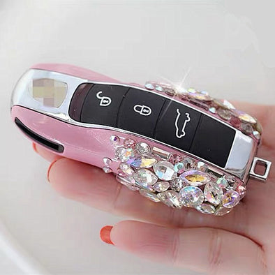 Bling Car Key Holder with Rhinestones for Porsche 2011-2017 All models 911 718 boxster Panamera Cayenne Macan Cayman