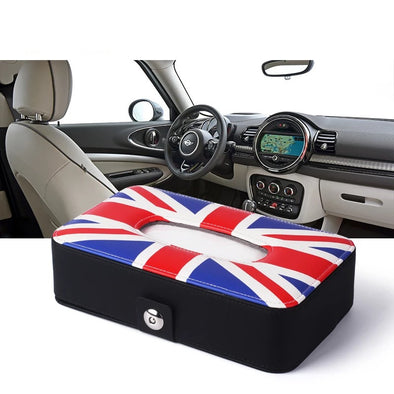 Mini Cooper Car Seat Back Tissue Box with Union Jack Checkers pattern