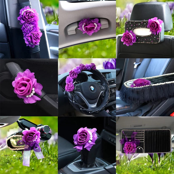 Purple Girly Car Accessories Set -Neck Pillow Visor Organizer Tissue box Gear shift brake cover