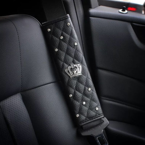 Black Leather Seat Belt Cover with Bling Crown (2x)
