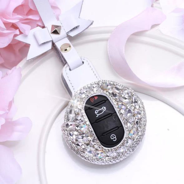 Silver Bling Bedazzled  BMW Mini  F54 F55 Key Leather Case with bow