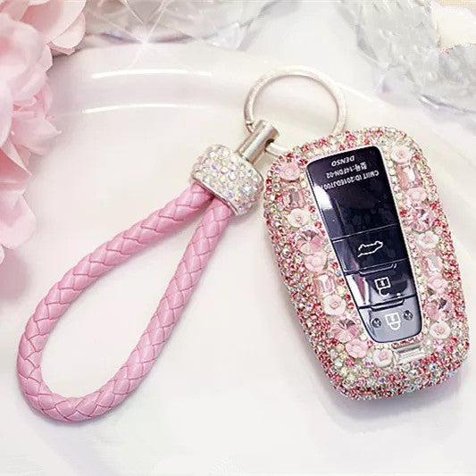 Toyota Bling Car Key Holder with Rhinestones and flowers for Camry Highlander Prado etc --Pink