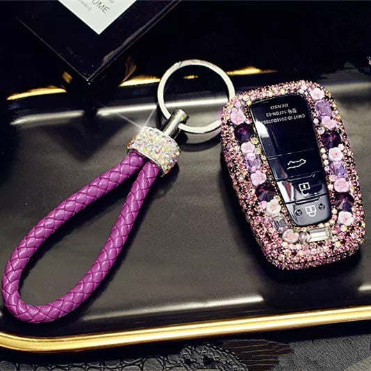 Toyota Bling Car Key Holder with Rhinestones and flowers for Camry Highlander Prado etc --Purple