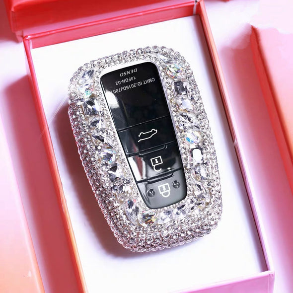 Silver Toyota Bling Car Key Holder with Rhinestones and flowers for Camry Highlander Prado etc