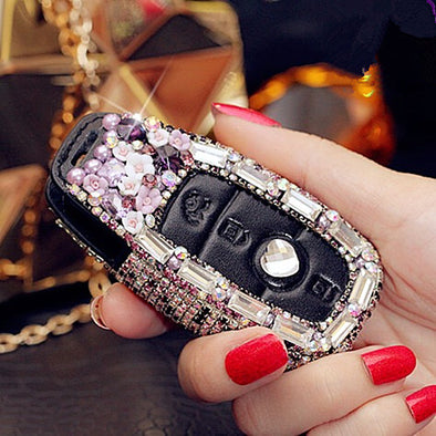 Bling NEW 2018 2019 Mercedes Benz E C S Class Car Key FOB with Rhinestones - Purple