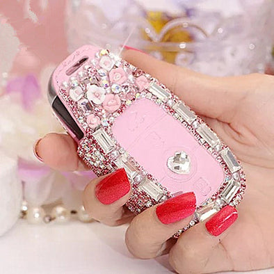 Bling NEW 2018 2019 Mercedes Benz E C S Class Car Key Holder with Rhinestones - Pink