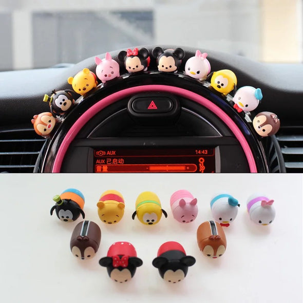 Mini Cooper Dashboard Cute Micky Minnie Silicone Small Figures Car Decoration (10x)