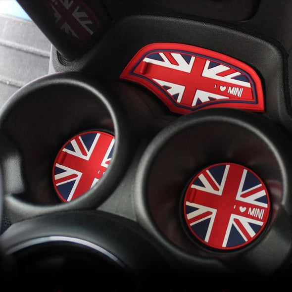 6 pcs set Cup Coaster for Mini Cooper F56 2014 Two Doors Bulldog Union Checkers