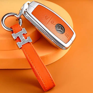 NEW 2020 2021 Mercedes Benz GLC CLA E C S Class Car Key FOB with H Rhinestones - Orange Black Pink