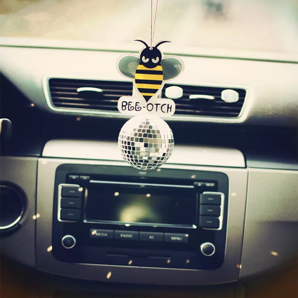 Bling Bumblebee  Bee-otch Crystal Car Charm Ornaments Pendant