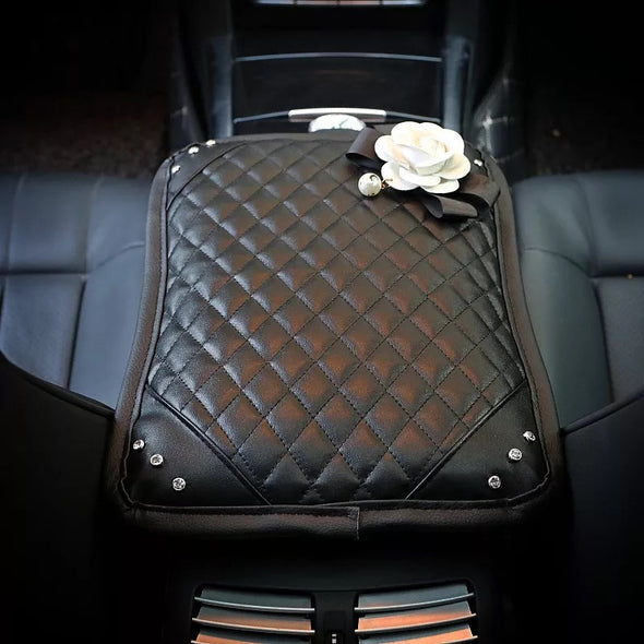 Black Leather Bling Car Center Console Cover with Black and white Camellia