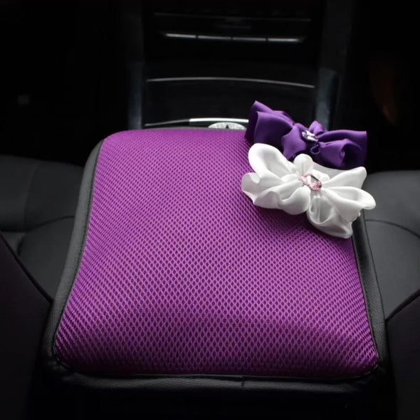 Purple Bling Car Center Console Cover with White and Purple Chiffon Flowers