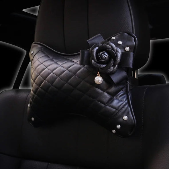 Bone Shaped Car Leather Headrest Pillow with Black Camellia