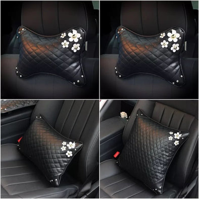 Vegan Leather Bone Shaped Car Cushion Headrest Pillow with Daisy