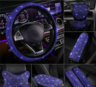 Blue bedazzled Bling Car Accessories -Neck Pillow Visor Organizor Center console Seat belt Gear shift braker cover Steering Wheel cover