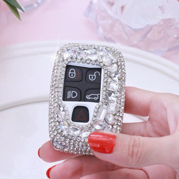 Silver Bling Range Rover Land Rover Jaguar XF Discovery Crystal Car Key FOB Holder