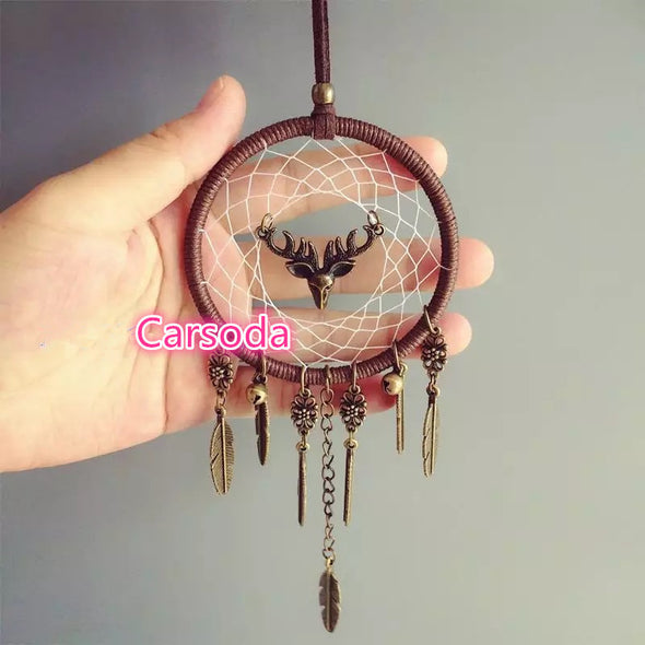 BOHO Dream Catcher with Deer Hanging Car Mirror Charm Ornaments Rearview Mirror