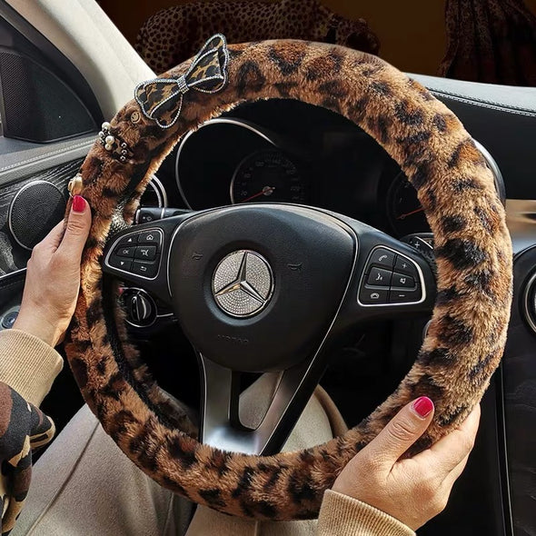 Leopard cheetah pattern Velvet Steering wheel cover with Bow
