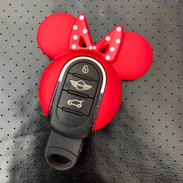 Red Mini Cooper Mickey Minnie Mouse Inspired Key Fob Cover Case Protector with Bow