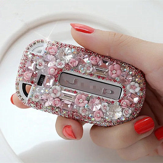 Bling JEEP Dodge Opened back Key FOB Cover with Rhinestones- for Cherokee Wrangler -Pink/Purple