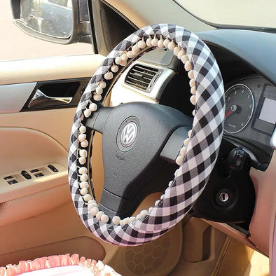 Black and white checker Steering wheel cover with white small bubble pendants