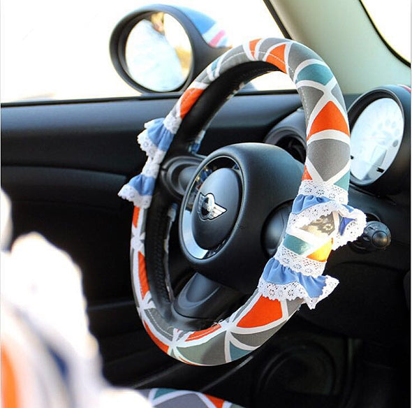 BOHO Steering wheel cover with Lace Ruffles