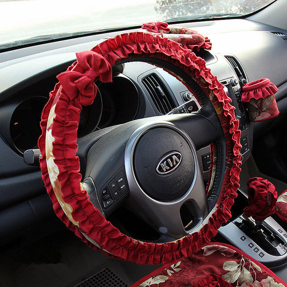 Floral Steering wheel cover with Red Lace Ruffles and Bow
