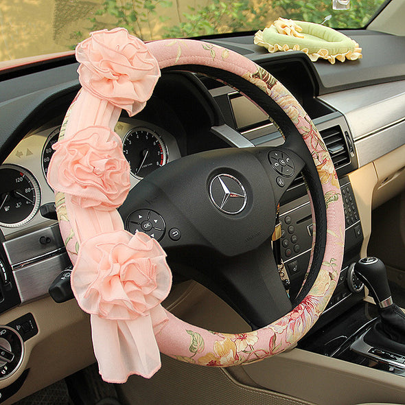 Pink Floral Steering wheel cover with Chiffon Roses