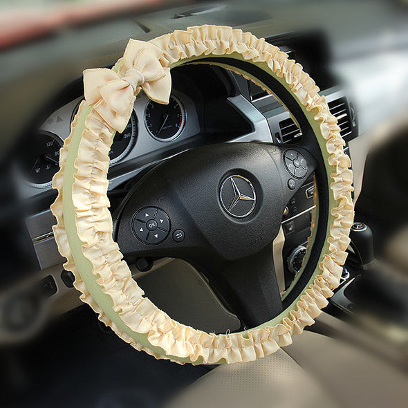 Light green Steering wheel cover with Yellow Ruffles and Bow
