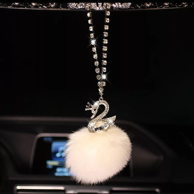 Bling Rearview Mirror Hanging Charm-Crystal Swan with POM POM