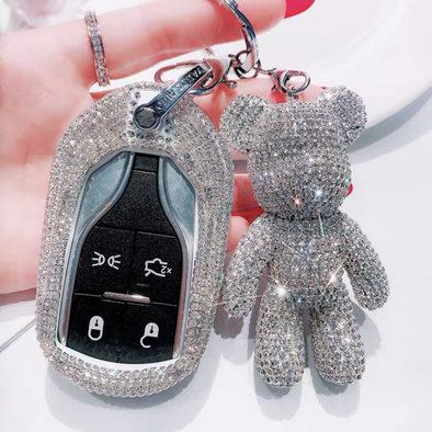 Silver Bling Car Key Holder Cover with Rhinestones for Maserati