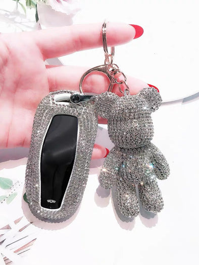 Bedazzled Bling Car Key Holder Cover with Rhinestones for Tesla Model 3