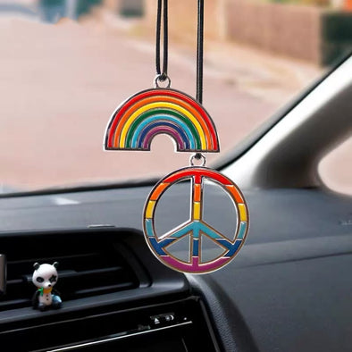 Peace and Love Rainbow Chrome Metal Car Charm Pendant
