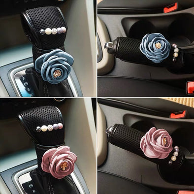 Black Bling Rhinestones Hand Brake & Gear Shift Cover 2-pieces-Set with Roses