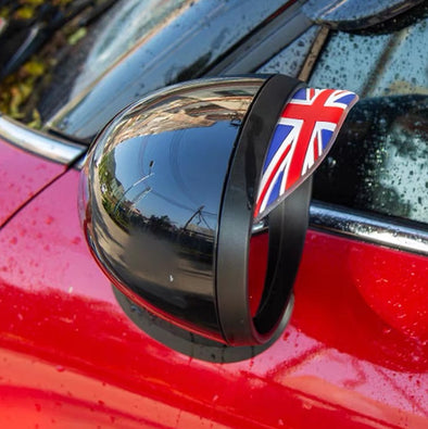 BMW Mini Cooper Countryman Side Rearview Mirror Rain Water Eyebrows Cover Side Shield  - Jack Union, Check, Germany, Italy flags (2x)