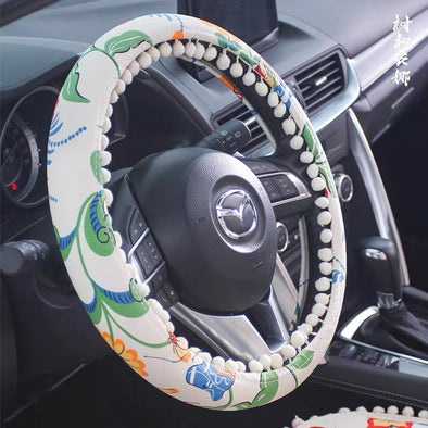 Boho floral garden Steering wheel cover with white small bubble pom pom pendants