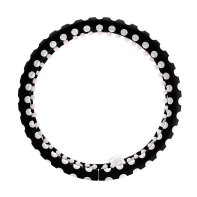 Black and white polka dots Steering wheel cover with white small bubble pom pom pendants