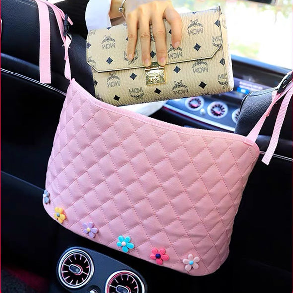 Pink Car Between Seats Handbag Holder with small flower