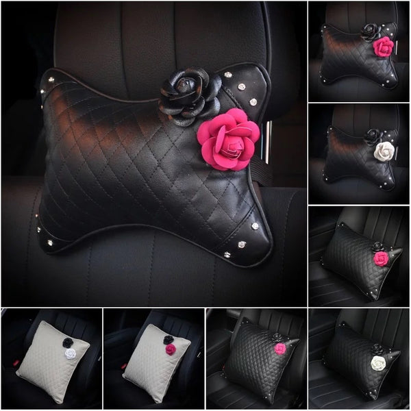 Bone Shaped Car Headrest Pillow with Pink and Black Camellia
