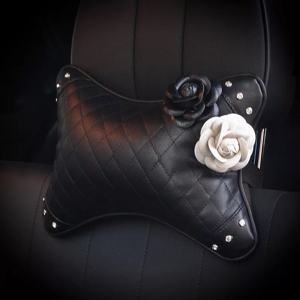 Bone Shaped Car Headrest Pillow with Black and White Camellias