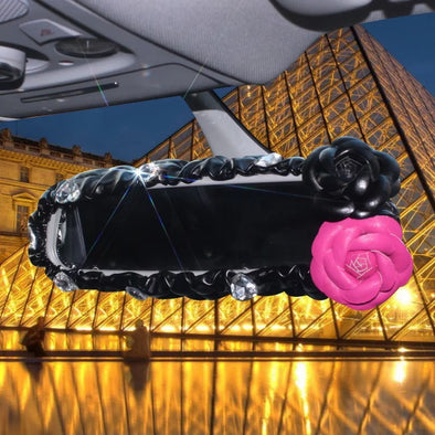 Vegan Leather Rearview Mirror Cover with Pink and Black Camellia