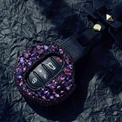 Violet Rhinestones Bling Bedazzled  BMW Mini  F54 F55 Key Leather Case fob with bow