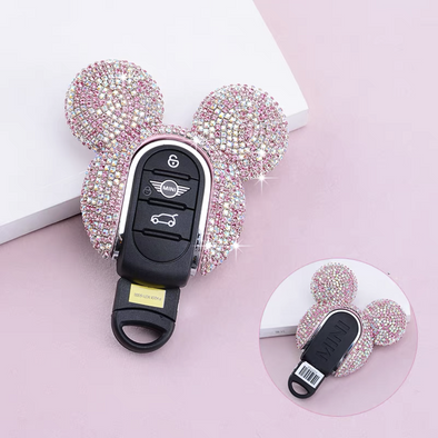 Bling Mini Cooper Mickey Minnie Mouse Inspired Key Fob Cover Case Protector