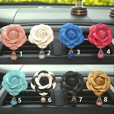 PU Camellia with Pendant Car Air Vent Bling Decoration with Air Freshener DIY clip