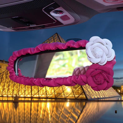 Hot Pink Vegan Leather Rearview Mirror Cover with Camellia