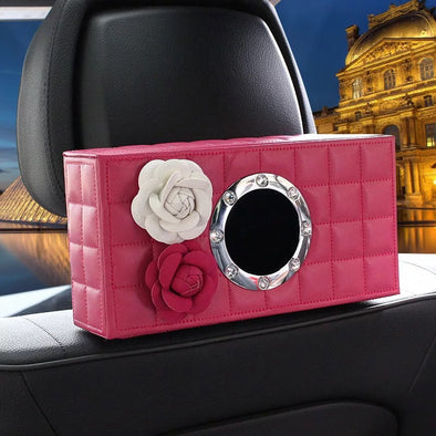 Hot Pink Car Seat Back Tissue Box with Pink and White Camellia