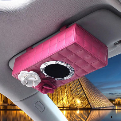 Hot Pink Tissue Box with Pink and White Camellia for Car Sun Visor Organizer